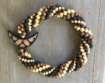 Bead Crochet Bracelet Kit for the Beginner - Bronze Crescent Bead Bracelet