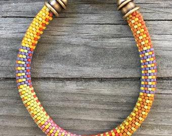 Orange Crush No. 2 Bracelet Pattern and Kit - 9 Around Bead Crochet Slip Stitch