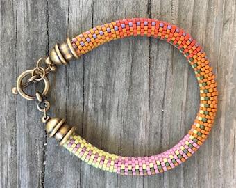 Orange Crush No. 1 Bracelet Pattern and Kit - 9 Around Bead Crochet Slip Stitch