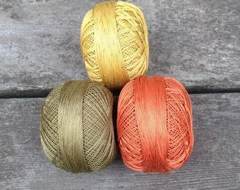 Harvest Thread Colors - Harvest Gold, Dark Olive and Harvest Orange crochet thread 3-pack, high quality Lizbeth brand 100% Cordonnet Cotton