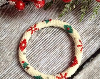 Holiday Ornament Bead Crochet Bracelet Pattern & Bead Kit Bead Crochet Pattern Bead Crochet