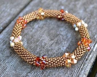 Bracelets Bronze and Swarovski Crystals in 4 Fall Colors Bangle Bracelet Handmade Gift