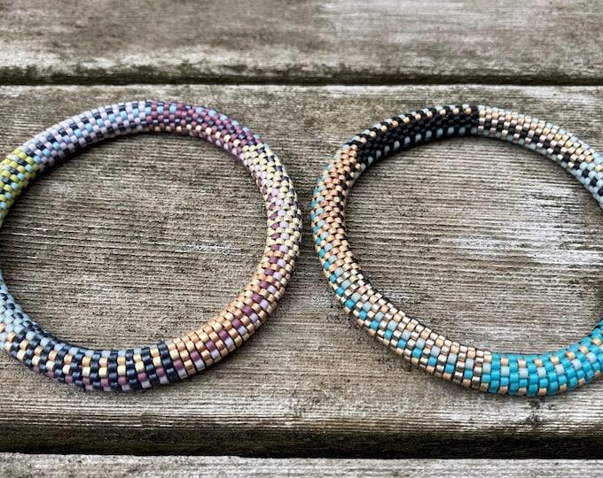 Featured listing image: Sisters-Bead Crochet bracelets Pattern and Kit - 9 Around Bead Crochet Slip Stitch Order 1 or both braceket kits