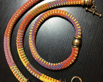 Orange Crush Series - 9 Around Bead Crochet Slip Stitch with all 3 Bracelet Patterns