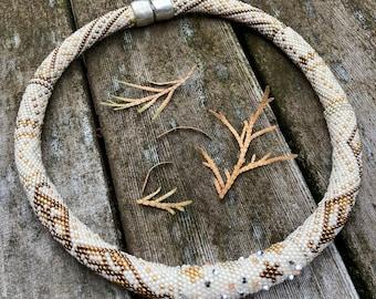 Leaves and Stars Necklace Kit Single Stitch Bead Crochet Pattern & Kit