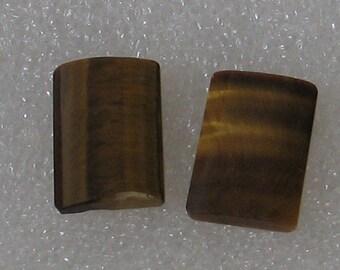 2 Stück Tigerauge 11x16mm rechteckigen Cabochons paar