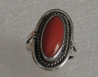 SALE Size 6.5   Coral Oval Braided Sterling Silver Ring