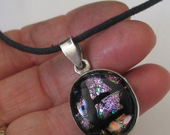 SALE Pink  and Black Dichroic  Glass and  Sterling Silver Pendant