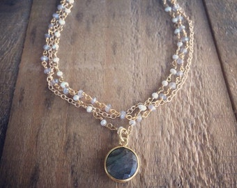 Labradorite and Pearl Rosary Chain Gold Filled Pendant Necklace
