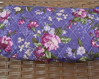 Long Purple Floral Wristlet