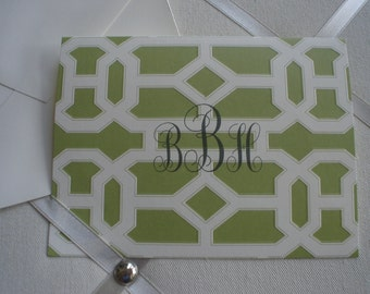Creme Embossed Celery Trellis Pattern Five for Five