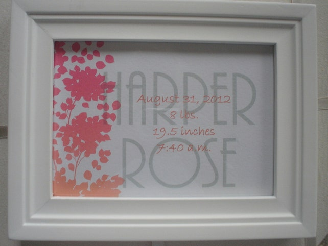 Welcome Baby Birth Print with back mat suitable for framing