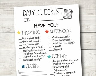 Editable Daily Checklist, Daily Routine,Printable Daily Routine, Responsibility Chart, Chore Chart Printable, Editable PDF, Instant Download