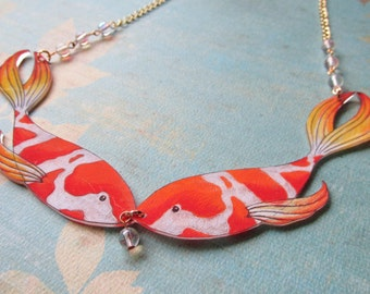 Kissing Koi Fish Necklace with Bubbles