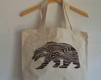 California Bear Wood Grain Tote Bag