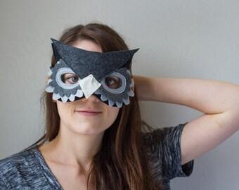 Owl Mask--Grey