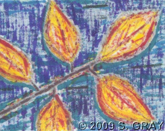 ACEO SFA Frosted Leaves print of ink markers drawing batik fall autumn limited edition art nitelvr