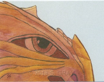 ACEO SFA Dragon Face print of mixed media painting fantasy limited edition art nitelvr