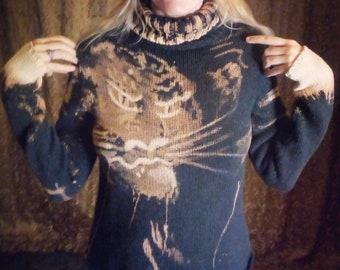 Tiger Hand Painted OOAK Cotton Sweater Women's Large, Dark Blue-black