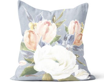 Floral Pillow Cover Spring Decor Pillow Cover The Everly in Blue