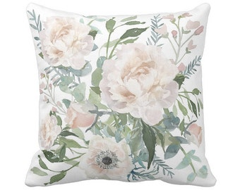 Pillow Cover Floral Sage and Blush Anemone