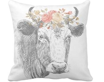 pillow cover Farmhouse Pillow Farmhouse Floral Cow Pillow Cover