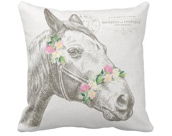 Farmhouse Decor Pastel Floral Horse Pillow Cover