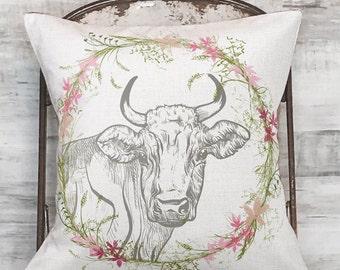 Pillow Cover Farmhouse Decor Wildflower Cow Pillow Cover