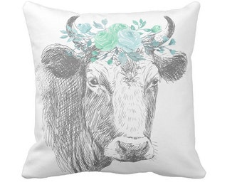 Pillow Cover Farmhouse Pillow Cover Farmhouse Decor Floral Cow Pillow in Teal