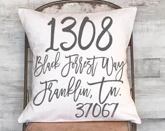Custom Address Pillow Cover Housewarming Gift Wedding Gift Custom Address Gift