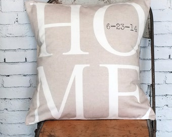 HOME Pillow Cover, Housewarming Gift, Wedding Gift, Personalized Pillow, Cotton Anniversary Gift, Accent Pillow, Custom Throw Pillow