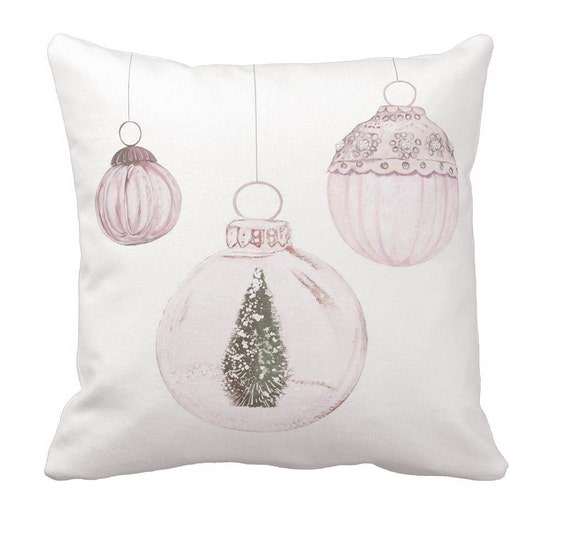 pillow cover christmas pillow pastel blush ornaments