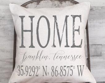 City and State Pillow Cover, Custom Pillow, Housewarming Gift, Wedding Gift, Coordinates Pillow,  Longitude Latitude Pillow