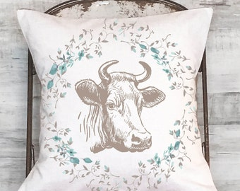 pillow cover Farmhouse Style Cow Pillow Floral Cow Pillow Cover