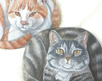 Huge Painted Rocks by Shelli Bowler, Custom of your pet, 12-14 inches in lenght on a semi flat river stone