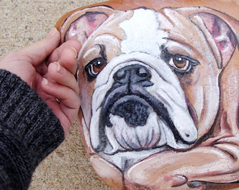 PAINTED ROCKS by Shelli Carriveau, Custom of your pet, 12-14 in.  Semi flat river stone