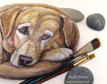 PAINTED ROCKS-Realistic Custom, Pet Portrait  on a Stone,  8-10 in.- Painted Rocks by Shelli Carriveau