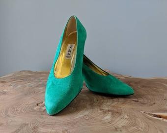 cfb342b49fe Vintage Green Escada Heels