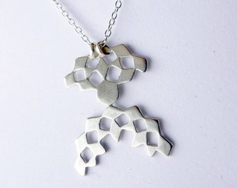 Mini Mashrabiya Necklace No 3. Modern Geometry. Sterling Silver Handmade Lace Necklace. Dainty Light Thin Layering Necklace.