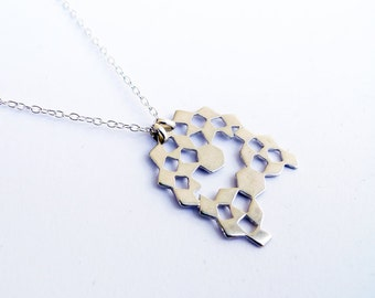 Mini Mashrabiya Necklace No 4. Modern Geometry. Sterling Silver Handmade Lace Necklace. Dainty Light Thin Layering Necklace. Recycled Silver