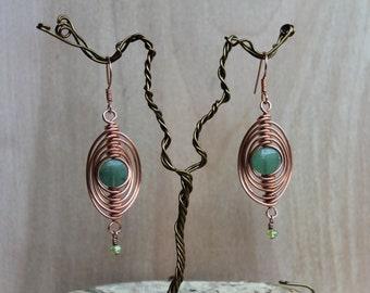 Herringbone Earrings-Green Jasper