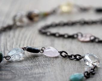 Feng Shui/Chakra Jewelry/Healing Stones - Multi Gemstone Long Chain Necklace - Christmas Gift