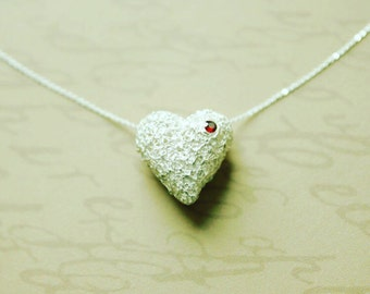 Always In My Heart - 99.9% fine silver filigree heart pendant with red gemstone