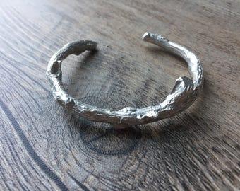 Sterling Silver Handcrafted Branch Cuff Bracelet for Men