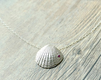 Fine Silver Handcrafted Seashell Pendant - Made to order - Mother's Day Gift
