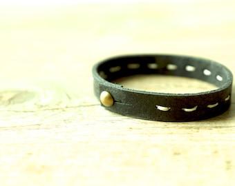 Unisex Black Leather Bracelet with Handstitched Details