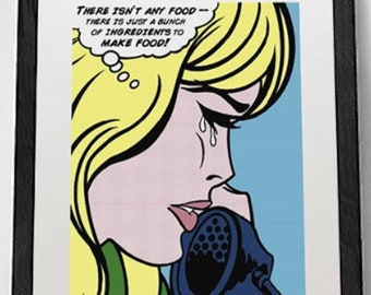Pop art print, kitchen wall decor, now available on paper OR CANVAS