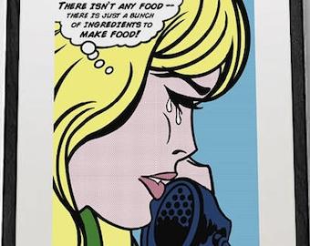funny original kitchen pop art print, kitchen wall decor, original pop art poster, roy lichtenstein style, comic art, funny meme