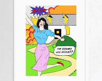 funny original pop art print, kitchen wall decor, original pop art poster, roy lichtenstein style, comic art, funny wall art