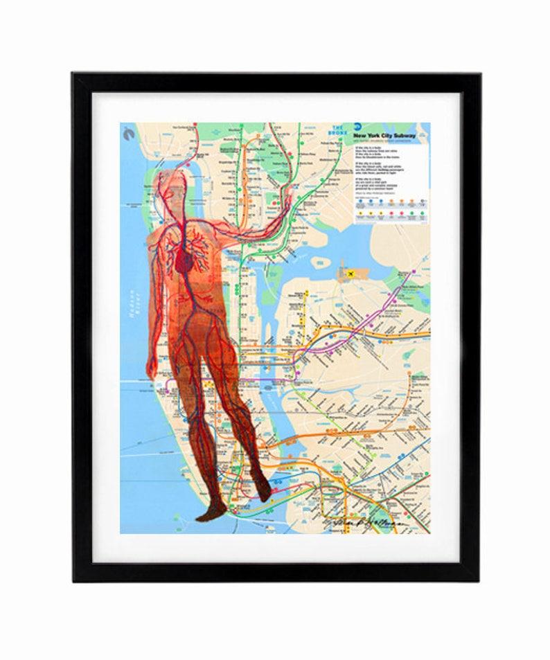 Purchase Nyc Subway Map.Art Print Altered Nyc Subway Map With Poem Mixed Media Poster Print Manhattan Map Art Nyc Wall Art Subway Art